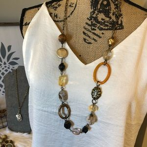 Jewelry - Antique Gold-Tone, Multi-Colored Necklace